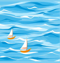 Sea background with two boats vector