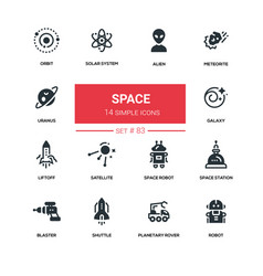 Space concept - line design silhouette icons set vector