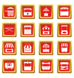 Street food truck icons set red vector