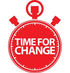 Time for change stopwatch red icon vector