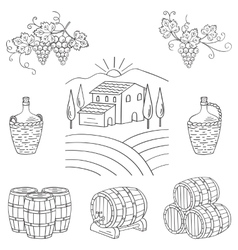 Vineyard farm village landscape vector image vector image