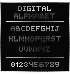 White digital alphabet vector image vector image