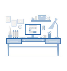 workplace in flat style of modern vector image