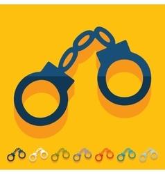 Flat design handcuffs vector