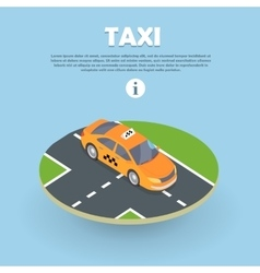 Taxi on part of road isometric web banner vector