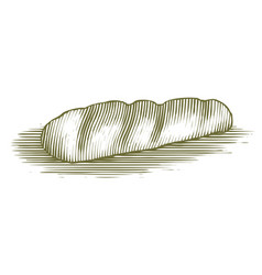 Woodcut french bread loaf vector