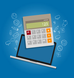 Calculator laptop note book online accounting vector