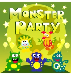 monster party poster vector image