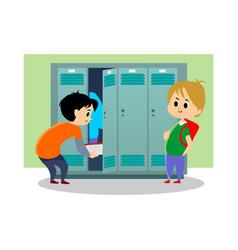 children boys near lockers in the locker room of vector image