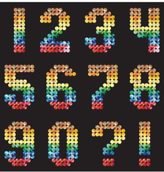 Numbers alphabet from the multicolored mosaic vector