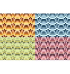 Seamless geometrical wavy pattern set vector