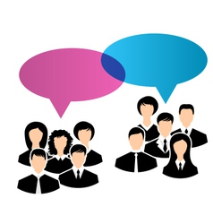icons of business groups share your opinions vector image