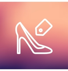 Shoe with tag thin line icon vector