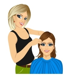 Hairdresser working cutting long hair vector