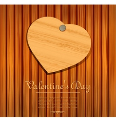 wooden valentines heart card vector image