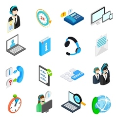 Computer service icons set isometric 3d style vector