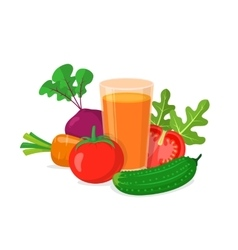 Glass of vegetable juice vector