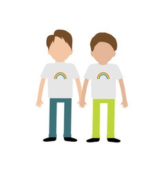 Gay family boy couple holding hands rainbow on vector