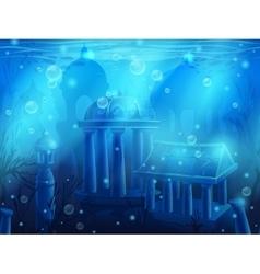 Atlantis seamless submerged underwater city the vector