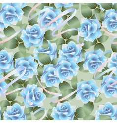 Blue roses pattern vector image vector image