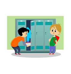 children boys near lockers in the locker room of vector image