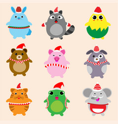 collection of cute animals design with christmas vector image