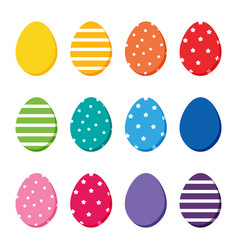 Colorful easter eggs set collection vector