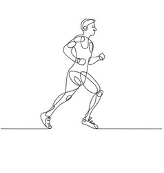 continuous line drawing of runner -variable line- vector image vector image