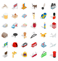 country icons set isometric style vector image vector image