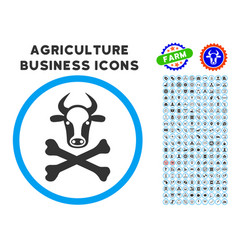 Cow death rounded icon with set vector