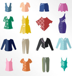 Different types of women clothing as icons vector image