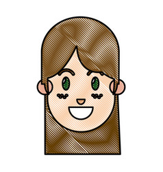 Drawing face girl happy expression freckles vector