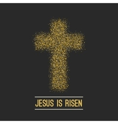 Easter background he is risen gold on dark vector
