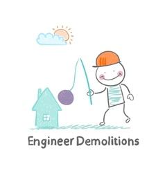 Engineer demolitions destroys home vector