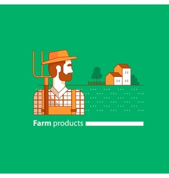 Farming industry farmer with fork farm house vector