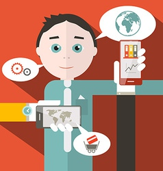 Flat Design Media with Man vector image vector image
