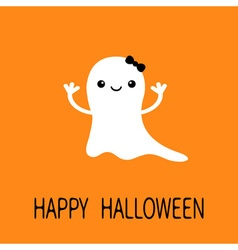 Funny baby girl ghost with black bow smiling face vector
