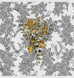 Gold metal with floral pattern seamless golden vector
