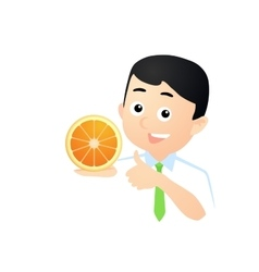 Happy Man with Orange vector image