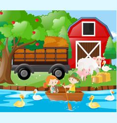 Kids and farm animals on the farm vector