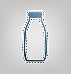Milk bottle sign blue icon with outline vector
