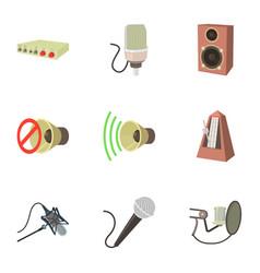 Music studio equipment icons set cartoon style vector