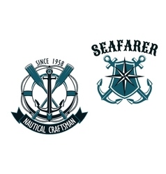 Nautical and marine themed badges vector image vector image