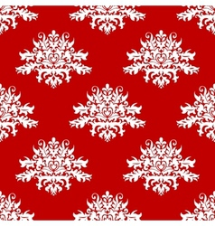 Red or amaranth damask style fabric pattern vector image vector image
