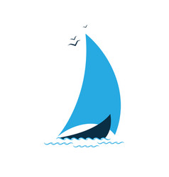 sailboat in the sea logo for the tourist company vector image
