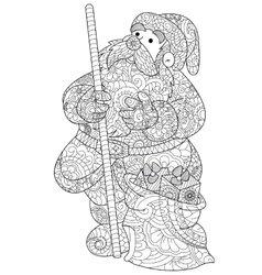 Santa claus coloring for adults vector