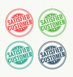 Satisfied customer rubber stamp set in four vector