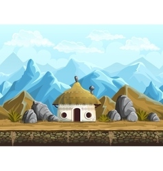 Seamless background of the hut in mountains vector