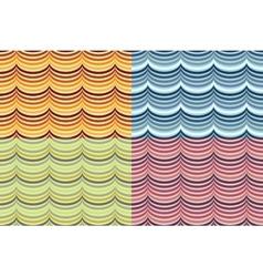 seamless geometrical wavy pattern set vector image