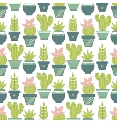 Seamless pattern with succulent plants and vector